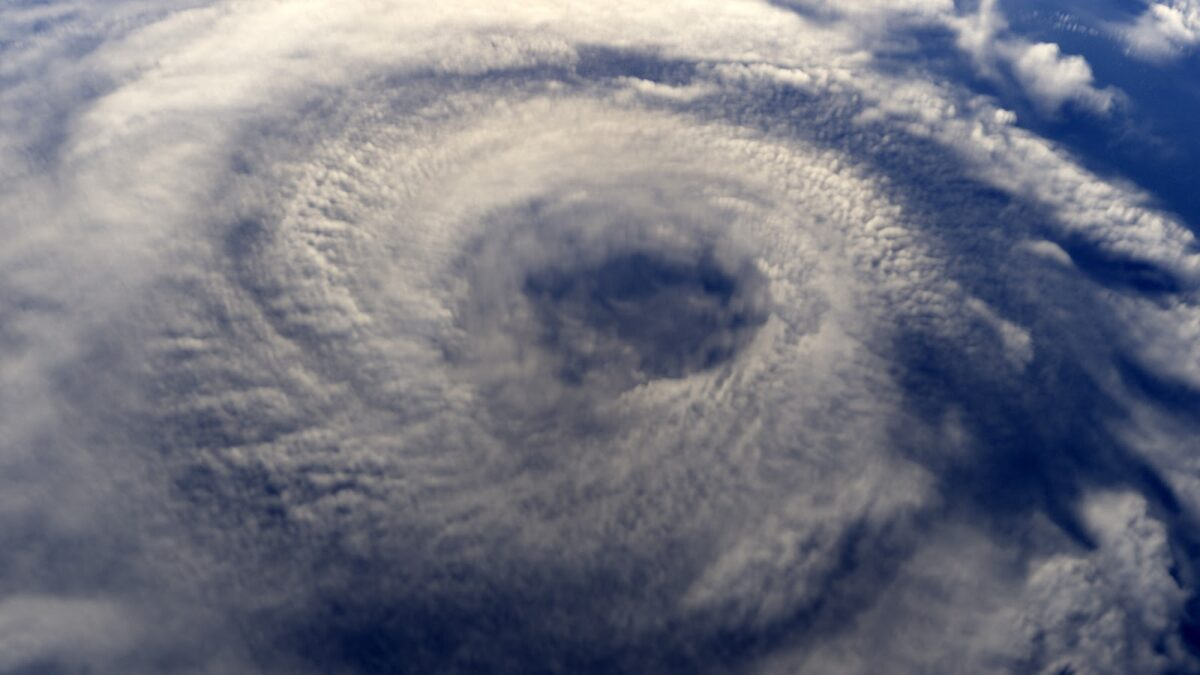 Overhead view of a hurricane